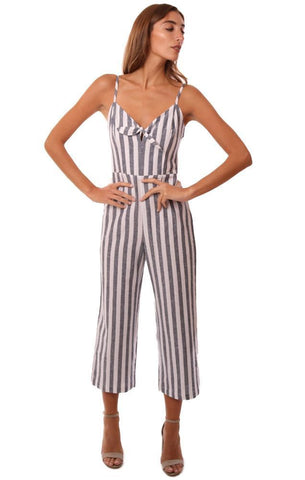 SANCTUARY JUMPSUITS TIE FRONT V NECK CROPPED WIDE LEG STRIPED JUMPSUIT