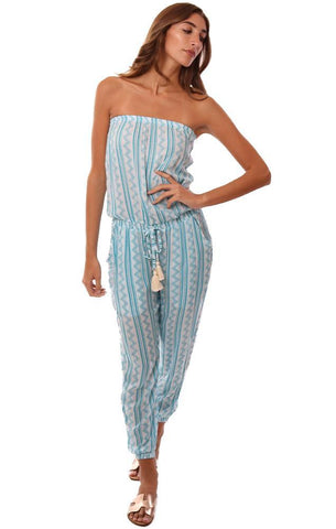 COOL CHANGE JUMPSUITS STRAPLESS TASSEL TIE WAIST TRIBAL PRINTED JOGGER BLUE JUMPSUIT