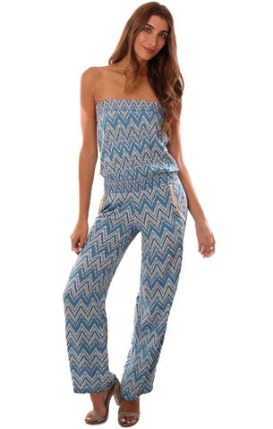 SKEMO JUMPSUITS STRAPLESS PRINTED BEADED BLUE SUMMER JUMPER