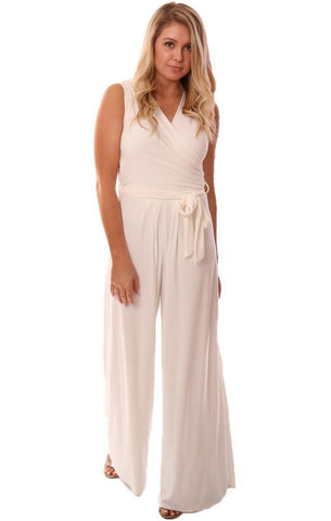 LAST TANGO JUMPSUITS SLEEVELESS TIE WAIST CROSSOVER V NECK WHITE DRESSY JUMPSUIT