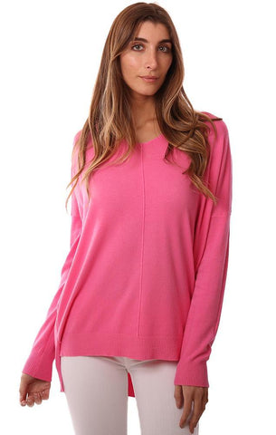 TOPS LONG SLEEVE V NECK HI LOW HOT PINK SOFT PULLOVER SWEATER