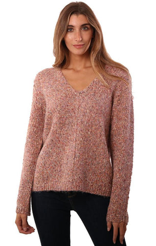 HEARTLOOM SWEATERS V NECK SPECKLED PINK COZY KNIT PULLOVER SWEATER