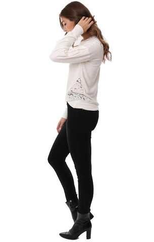 Red Haute Tops Lace Side Detail Soft Causal Comfy Winter White Basic Pullover Sweater