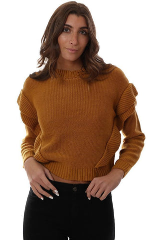 BB DAKOTA SWEATERS LONG SLEEVE RUFFLED DETAIL KNIT MUSTARD SWEATER TOP