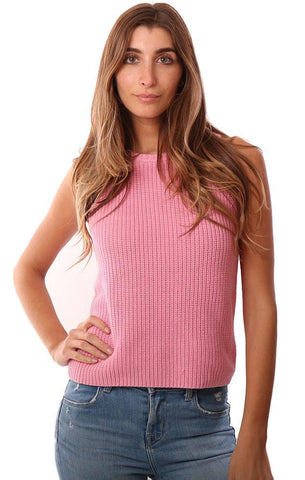 525 AMERICA TOPS SLEEVELESS PINK KNIT SWEATER TANK TOP