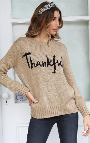 THANKFUL CREW WOODEN SHIPS THANKSGIVING KNIT SWEATER