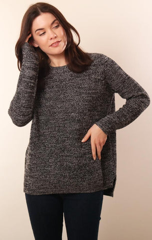 525 SWEATERS LONG SLEEVE COMFY BLACK KNIT COTTON PULLOVER