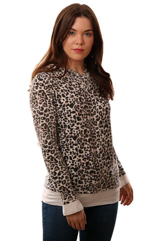 SIX FIFTY HOODIES LONG SLEEVE ZIPPER BACK WHITE LEOPARD PRINT PULLOVER