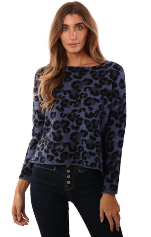 CENTRAL PARK WEST SWEATERS LONG SLEEVE LEOPARD PRINT BLACK BLUE KNIT PULLOVER