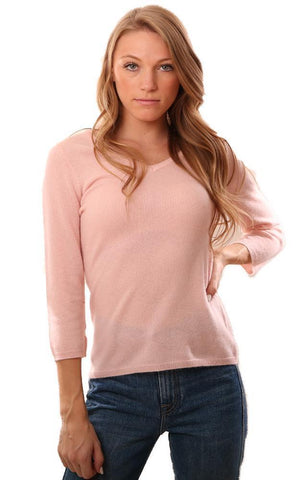 IN CASHMERE SWEATERS V NECK LONG SLEEVE COZY PINK CASHMERE KNIT