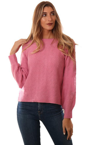 BB DAKOTA SWEATERS BOAT NECK PINK KNIT PULLOVER