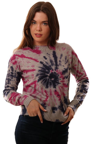 CENTRAL PARK WEST SWEATERS CREW NECK TIE DYE KNIT BLUE PINK GREY PULLOVER SWEATER
