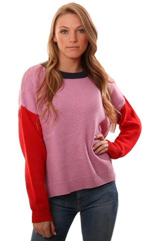 525 AMERICA SWEATERS LONG SLEEVE CREW NECK COLOR BLOCK KNIT