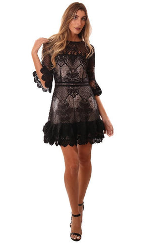 BB DAKOTA DRESSES BELL SLEEVE LACE BLACK MINI PARTY DRESS