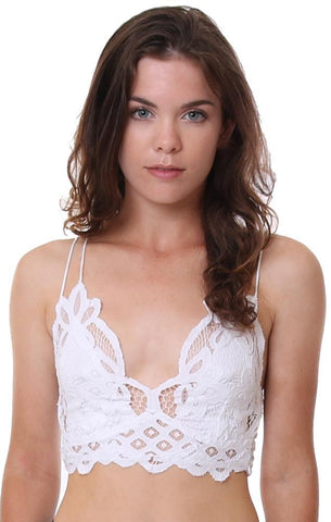 FREE PEOPLE BRALETTES LACE SEXY THIN STRAP WHITE BRALETTE
