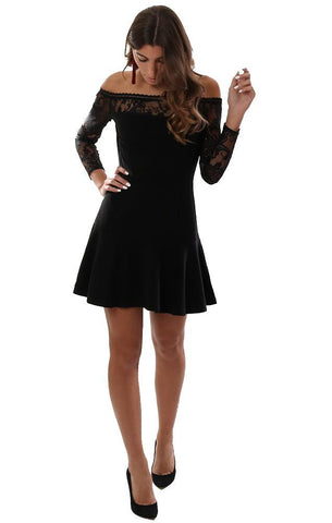 BB DAKOTA DRESSES OFF THE SHOULDER LACE DETAIL BLACK MINI PARTY DRESS