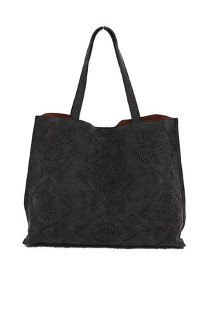HANDBAGS VEGAN LEATHER LASER CUT BLACK BAG