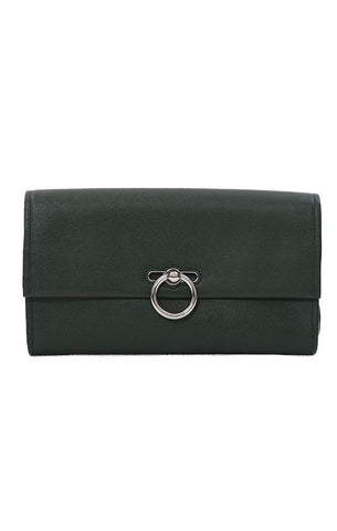 REBECCA MINKOFF HANDBAGS GENUINE SMOOTH LEATHER GREEN JEAN CLUTCH