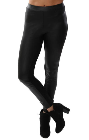 Clara Sunwoo Leggings High Waist Faux Leather Front Black Skinny Chic Legging Pants