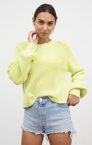 NYSSA PULLOVER CENTRAL PARK WEST NEON CITRON YELLOW SWEATERS