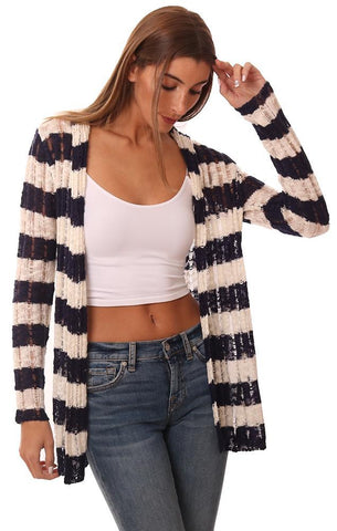 CARDIGANS HOODED OPEN FRONT STRIPED LIGHTWEIGHT KNIT CARDI SWEATER