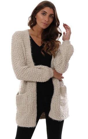 BB DAKOTA CARDIGANS OPEN FRONT EYELASH KNIT BEIGE COZY POCKET CARDI
