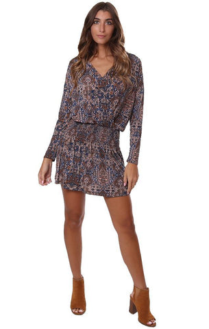 VERONICA M DRESSES V NECK SMOCKED CROSS FRONT LONG SLEEVE PRINTED MINI DRESS