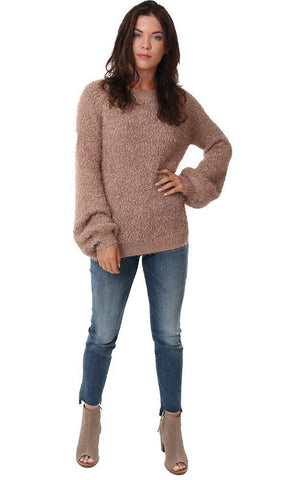SWEATERS LONG SLEEVE CREW NECK COZY SHAG DUSTY PINK KNIT PULLOVER SWEATER