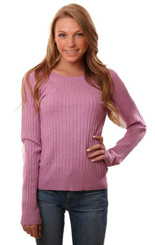 525 AMERICA SWEATERS RIBBED LONG SLEEVE CREW NECK LAVENDER TOP
