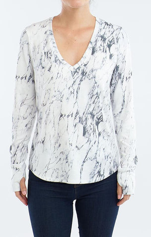 V NECK WITH THUMBHOLES RED HAUTE WINTER MARBLED WHITE TOPS