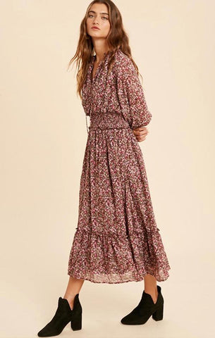 MAVE MIDI DRESS IN LOOM LONG FLOWY FLORAL HOLIDAY DRESSES