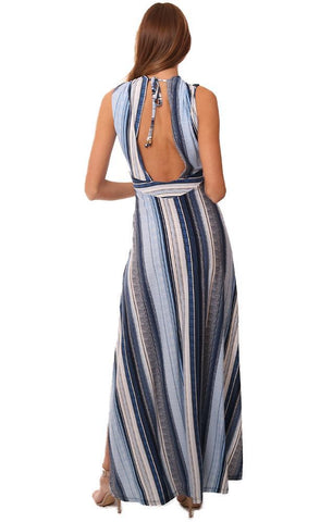 VERONICA M DRESSES SLEEVELESS V NECK OPEN BACK STRIPED CHIC MAXI DRESS