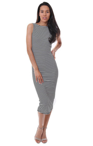VERONICA M DRESSES STRIPED SCOOP BACK BLACK / WHITE MAXI TANK DRESS