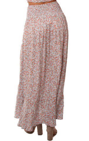 SKIRTS SMOCKED WAIST FLORAL PRINTED FRONT SLIT MAXI SKIRT