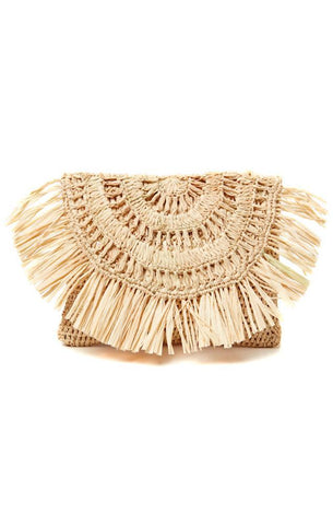MIA FRINGE POUCH WOVEN DETAILS SUMMER CLUTCH BAGS