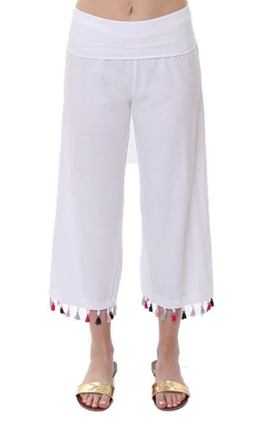 Michael Stars Tassel Trim Beach Flowy lightweight White Wide Leg pants