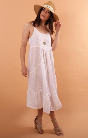 SANDRINE LINEN DRESS CP SHADES WHITE FLOWY BEACH PARTY DRESS