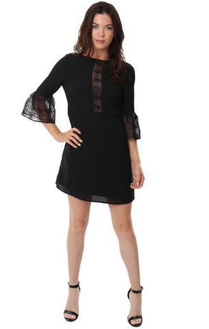 BB DAKOTA DRESSES HIGH NECK BLACK LACE BELL SLEEVE MINI DRESS
