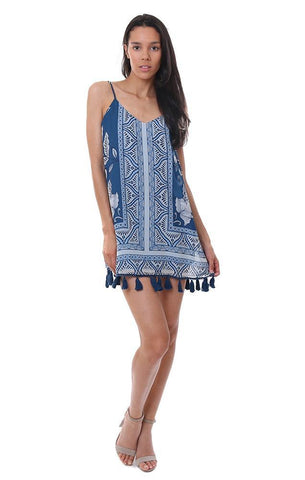 Show me your mumu dresses boho printed tassel mini Dress