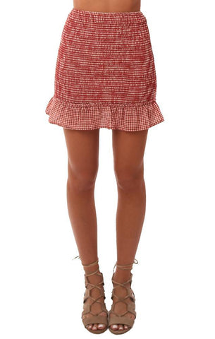 STORIA SKIRTS SMOCKED RUFFLE TRIM RED CHECKED FITTED MINI SKIRT