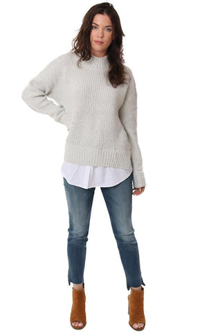 sweaters high neck long sleeve lined layered knit cozy top