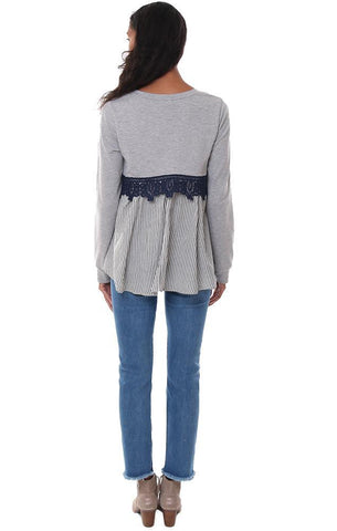 tops long sleeve layered lace lined striped grey navy top
