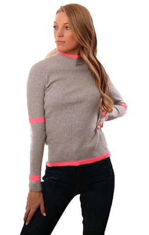 CENTRAL PARK WEST TOPS LONG SLEEVE RIBBED MOCK NECK PINK GREY KNIT TOP