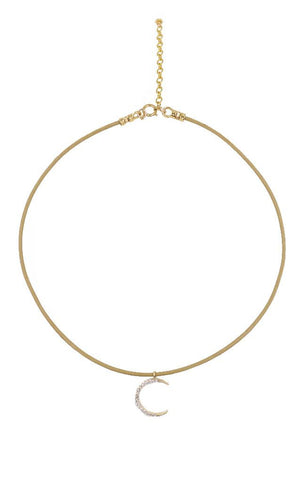 LEATHER CHOKERS GOLD-FILLED PAVE MOON CHARM NECKLACE
