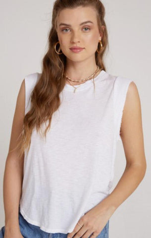 sleeveless white crew neck muscle tee shirt top by Bella Dahl