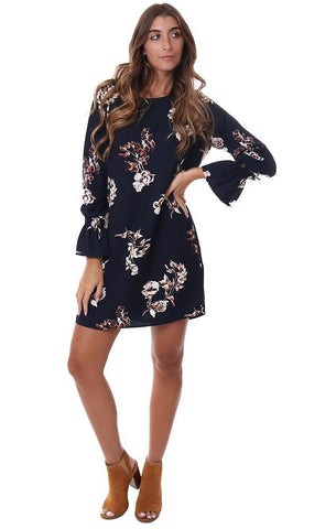VERONICA M DRESSES SMOCKED BELL SLEEVE CUFF NAVY FLORAL FLOWY SHIFT DRESS