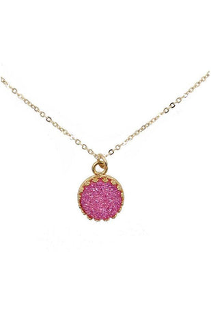 NECKLACES GOLD FILLED ROUND PINK DRUZY JEWELRY