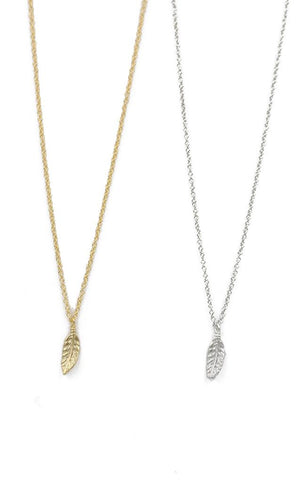 NECKLACES GOLD SILVER FEATHER CHARM JEWELRY