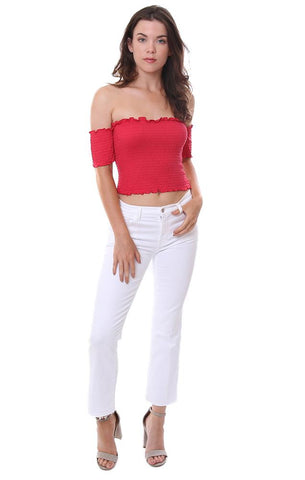 FIORE TOPS CAP SLEEVE OFF THE SHOULDER SMOCKED RED TUBE TOP