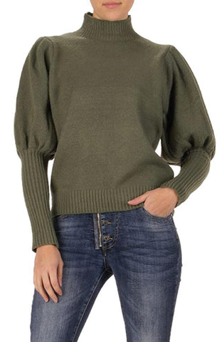 BIANCA SWEATER ELAN PUFFY SLEEVE OLIVE GREEN FALL KNIT